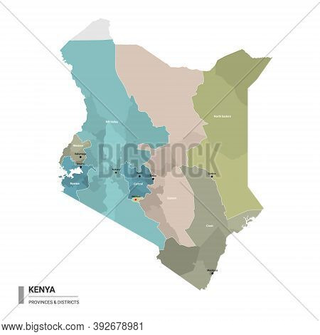 Kenya Higt Detailed Map With Subdivisions. Administrative Map Of Kenya With Districts And Cities Nam