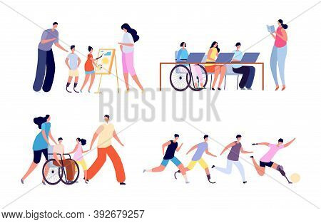 Disabled Children. Disability Activity, Young Girl In Wheelchair At School. Handicapped Kids In Fami