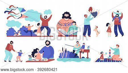 Father With Children. Man Play Child, Dad And Son Fishing Reading Hugging And Sporting. Happy Father