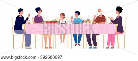 Big Dinner. Diverse Generations Eating Together, Happy Family Lunch Time. Weekend Meeting, Thanksgiv