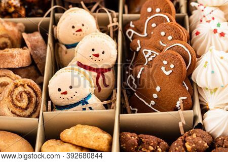 Tasty Homemade Christmas Cookies In A Craft Box. Closeup View