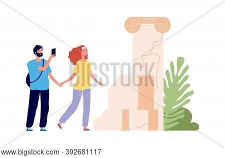 Tour Trip. Tourists Watch Ancient Ruins, Man Take Photo. Man Woman Travellers, Cartoon Couple Togeth
