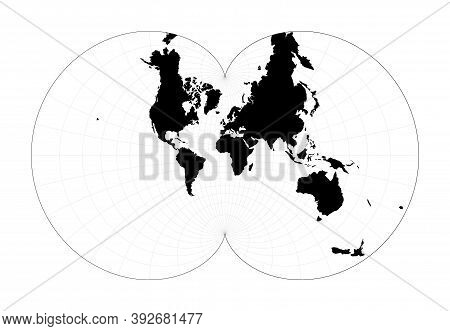 World Map With Latitude Lines. Eisenlohr Conformal Projection. Plan World Geographical Map With Grat