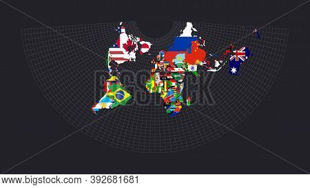 Worldmapwith Flags Of Each Country. Conic Equidistant Projection. Map Of The World With Meridians On