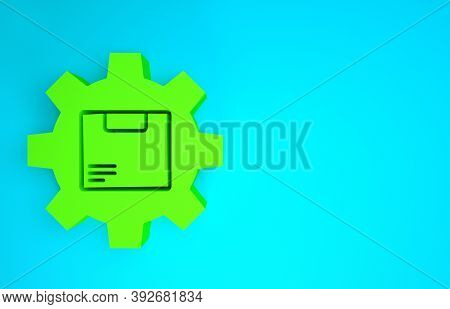 Green Gear Wheel With Package Box Icon Isolated On Blue Background. Box, Package, Parcel Sign. Deliv
