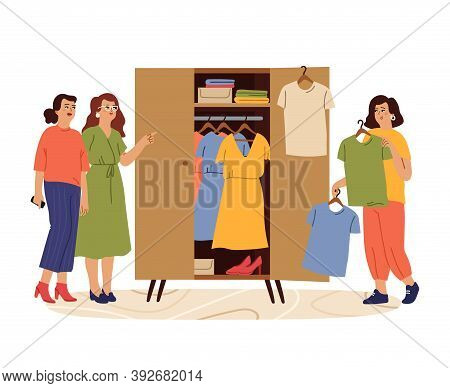 Woman And Wardrobe. Styling Girl, Female Try Fashion Outfits. Female Searching Clothes In Closet, Fr