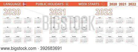 2020, 2021, 2022 Year Vector Calendar In Danish Language, Week Starts On Sunday. Vector Calendar.