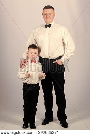 Gentleman Upbringing. Father And Son Formal Clothes Outfit. Formal Event. Grow Up Gentleman. Dad And