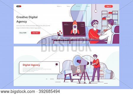 Creative Agency Landing Pages Set. Idea Generation Workflow, Project Launch Corporate Website. Flat