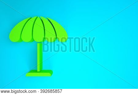 Green Sun Protective Umbrella For Beach Icon Isolated On Blue Background. Large Parasol For Outdoor