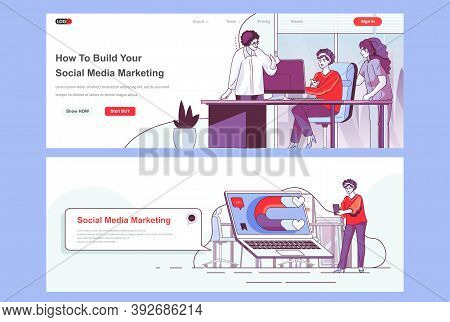Social Media Marketing Landing Pages Set. Social Network Marketing Campaign Corporate Website. Flat