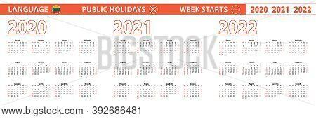 2020, 2021, 2022 Year Vector Calendar In Lithuanian Language, Week Starts On Sunday. Vector Calendar