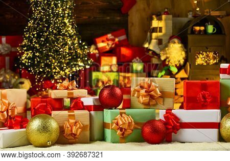 Merry Christmas And Happy New Year. Santa Claus Prepared Lots Of Presents. Xmas Shopping Time. Holid