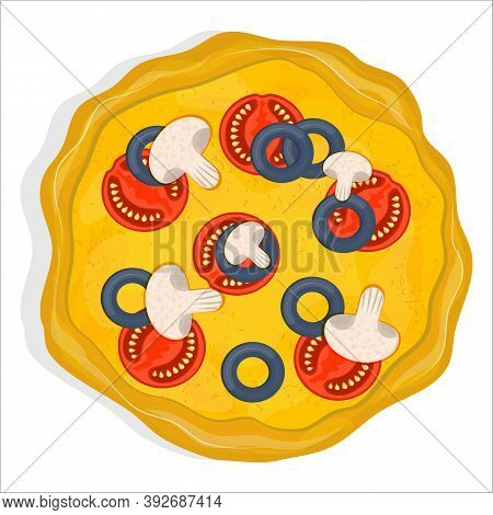 Vegetarian Pizza With Tomatoes, Mushrooms And Olives Isolated On A White Background. Dish From Itali
