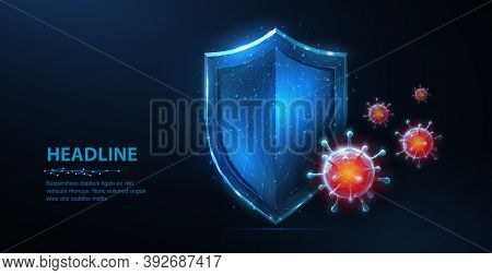 Shield Vs Virus. Abstract Vector 3d Shield Viral Microbe Vs Blue Shield Isolated. Computer Virus Saf