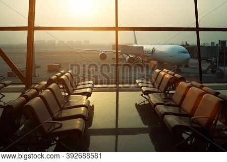 Aircraft Flight Preparation - Fueling, Catering, Baggage Services Before Airplane Takeoff. Waiting A