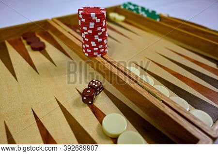 Backgammon Board With Game Pieces Markers And Dices