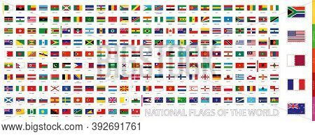 Postage Flag Set, National Flags Of The World, Flags Sorted By Alphabet And Continent.