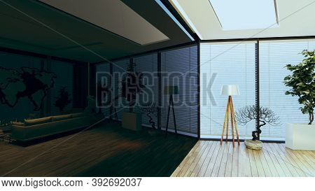Modern Office Concept With Wooden Parquet Floor, Plant, Floor Lamp And Black Reflect Background Desi