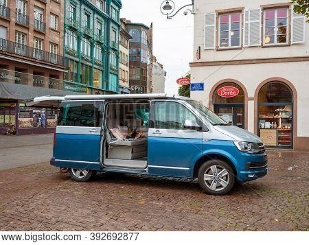 Paris, France - Oct 23, 2020: Luxury Volkswagen Travel Caravelle Van Parked In Central Palce Kleber