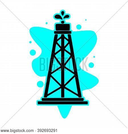 Oil Rig Icon. Simple Illustration Of Oil Rig Vector Icon For Web, Vector Illustartion Design