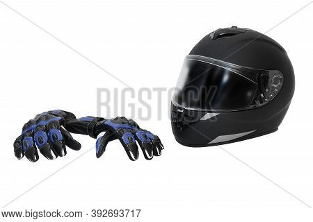 Integral Black Motorcycle Helmet And Leather Blue Moto Gloves Isolated On White Background