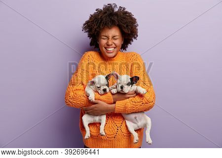 Pleased Overjoyed Dark Skinned Female With Afro Haircut, Holds Two Little Dogs, Closes Eyes, Wears O