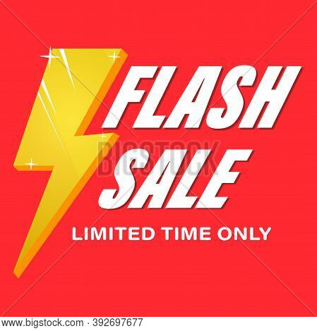 Flash Sales Banner. The Offer Is Limited In Time.red Background With Yellow Lightning. Vector Illust