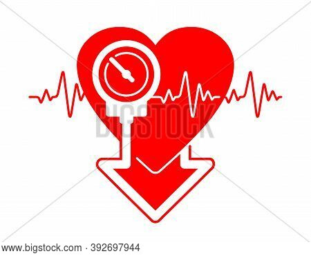 Lowering Blood Pressure Medication Emblem For Cardio Pills For Hypertension Disease - Isolated Vecto