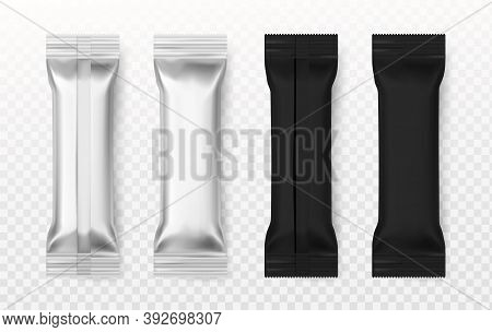 Blank Sachet. Realistic Black And White Sugar Or Salt Packet, Package For Different Product Containe