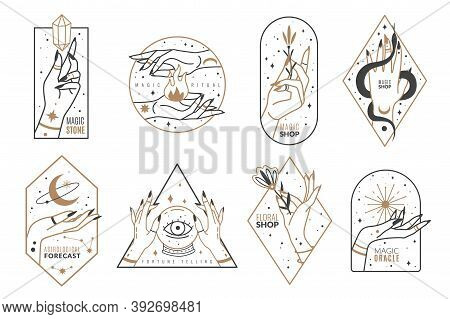 Occult Line Emblems. Outline Women Hands With Mystical Magic Elements In Minimalistic Trendy Style,