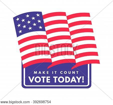 American Presidential Vote Sticker. United States Of America National Voting Day, Emblem With Flag A