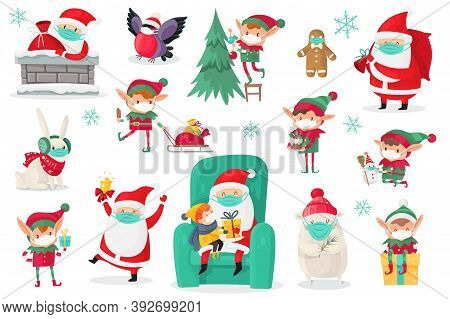 Cartoon Christmas Characters Wearing Medical Masks. Santa, Elves And Animals In Protect Mask Collect