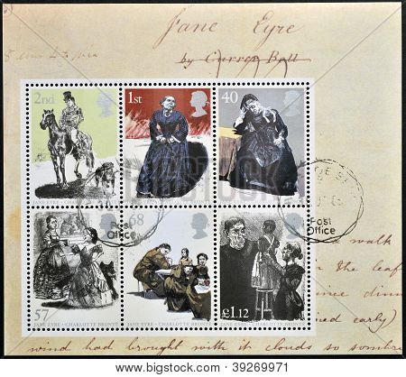 UNITED KINGDOM - CIRCA 2005: Collection stamps printed in Great Britain dedicated to Charlotte Bront