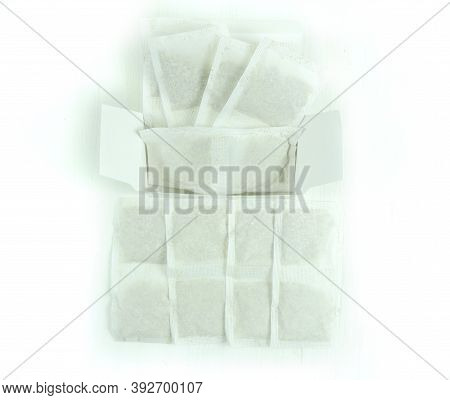 Tea Bag With Herbs ,   Healing Homeopathic Herbs In Sachet . White Background