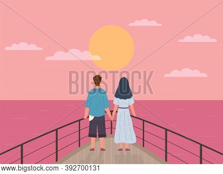 Couple And Sunset. Happy Young Man And Woman On Date Watch Sun On Ship, Pair Back View Look Horizon,