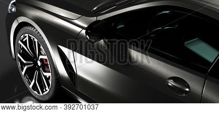 Detail shot of modern black premium car in studio light. Brandless contemporary style. 3D illustration