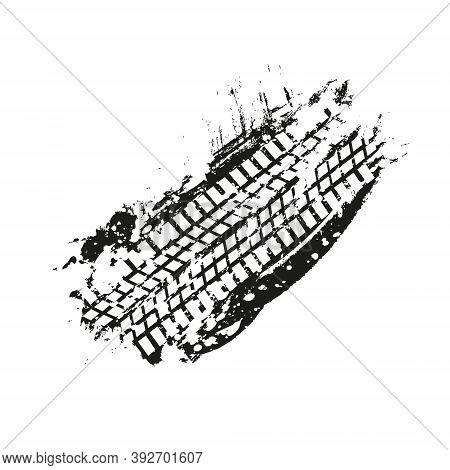 Grunge Black Tire Track On White Background. Black Ink Blots Splash With White Tire Track Silhouette