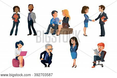 Collection Of Poses Peoples At Office. Bundle Of Men And Women Taking Part In Business Meeting, Nego