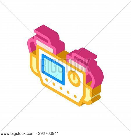 Defibrillator Medical Equipment Isometric Icon Vector Illustration