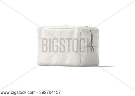 Blank Canvas Cosmetic Bag Mock Up, Half-turned View, 3d Rendering. Empty Cotton Cosmetician For Fema