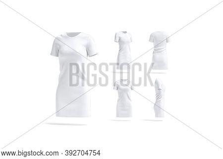 Blank White Cloth Dress Mockup, Different Views, 3d Rendering. Empty Elegant Cotton Knitwear Mock Up