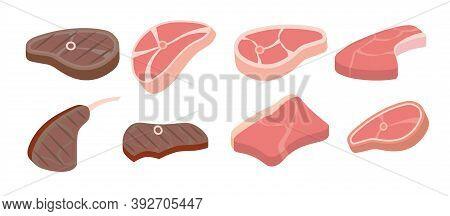 Cartoon Beef Steaks. Steak Icons Used For Cooking Steak And Roast - T-bone, Rib Eye, Porterhouse, To