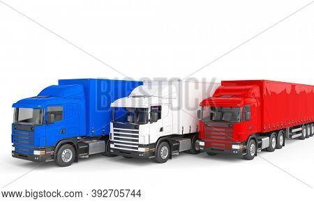 blue red and white freight truck. Logistics and shipping concept. 3d render.