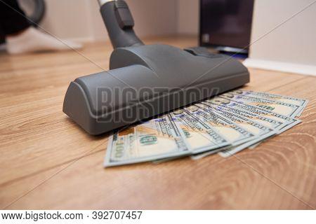 Vacuum Cleaner Sucks Usd Dollar Banknotes. Launder Money Concept