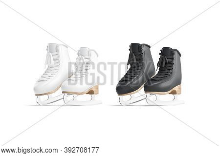 Blank Black And White Ice Skates Mockup Tiptoe, Half-turned View, 3d Rendering. Empty Winter-sports