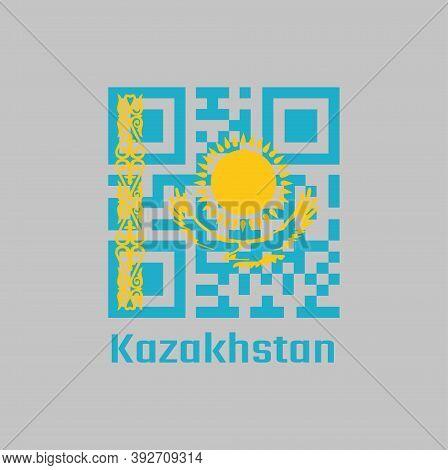 Qr Code Set The Color Of Kazakhstan Flag. Gold Sun Above Eagle On Blue Field. The Hoist Side Display