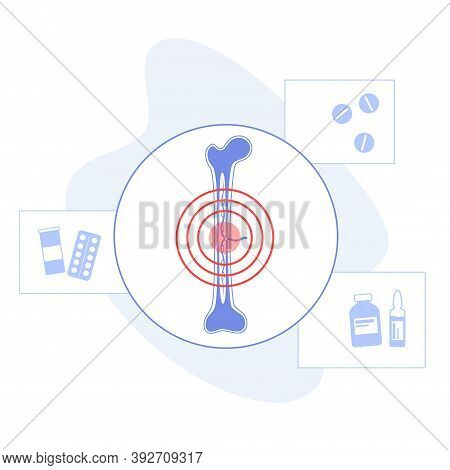 Bone Marrow Anatomical Icon Or Logo. Human Bone Structure. Doctor Appointment, Laboratory Research,