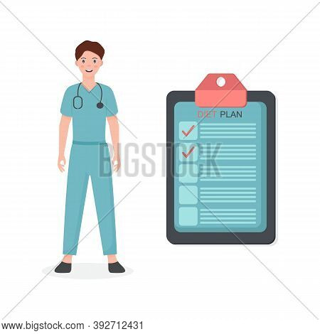 Female Nutritionist Prescribing Nutrition Schedule Isolated Cartoon Character On White Background.