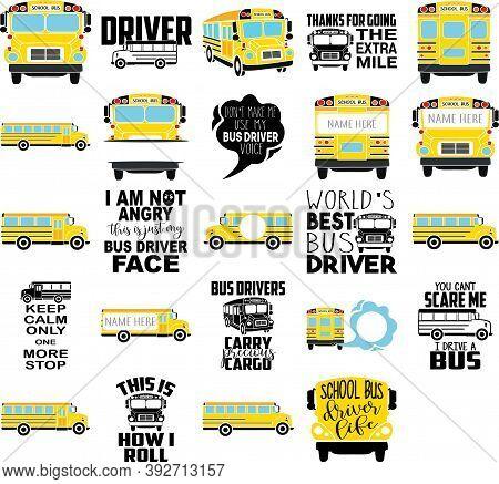 Set With Yellow School Bus. Monogram Frame
